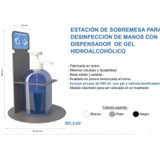 .SOPORTE DE MESA CON DOSIFICADOR DE GEL HIDROALCOHÓLICO DE 500ML E430